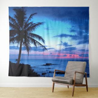 Tropisches Insel-Strand-Ozean-Rosa-blaues Wandteppich