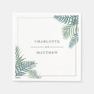 Tropisches Laub-personalisierte Hochzeit Papierserviette