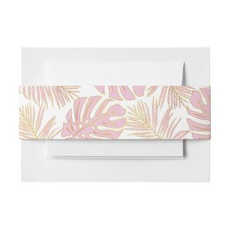 Tropisches monstera, rosa Hochzeit der Palmblätter Einladungsbanderole