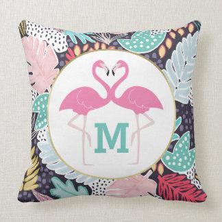 Tropisches Muster-Flamingo-Monogramm-Kissen Kissen