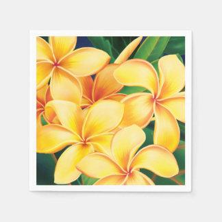 Tropisches Paradieshawaiischer Plumeria mit Blumen Papierserviette