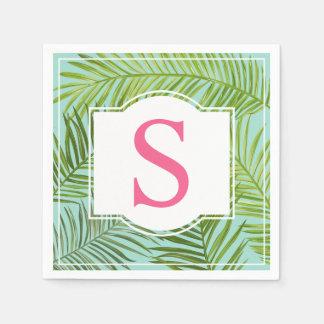 Tropisches rosa Monogramm der Palmblatt-  Papierserviette