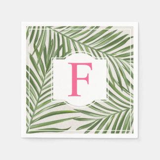 Tropisches rosa Monogramm der Palmblatt-  Serviette