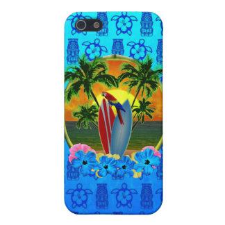 Tropisches Sonnenuntergang-Blau Tiki iPhone 5 Case