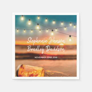 Tropisches Sonnenuntergang-Strand-Weckglas Papierservietten