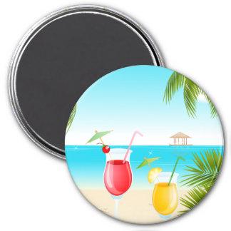 Tropisches Strand-Cocktail-runder Magnet! Runder Magnet 7,6 Cm