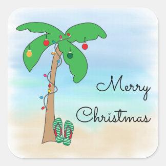Tropisches Strand-Hawaiianer-Weihnachten Quadratischer Aufkleber