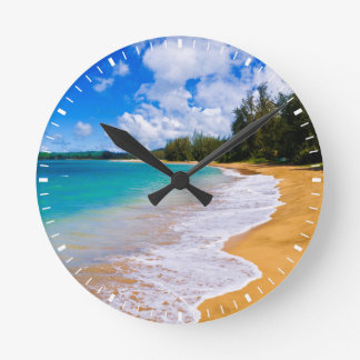 Tropisches Strandparadies, Hawaii Runde Wanduhr