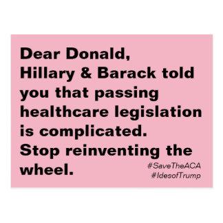 Trumpf-Gesundheitswesen ist schwieriger Widerstand Postkarte