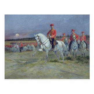 Tsarevich Nicolas, der die Truppen, 1899 Postkarte