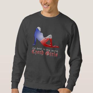 Tschechische Mädchen-Silhouette-Flagge Sweatshirt