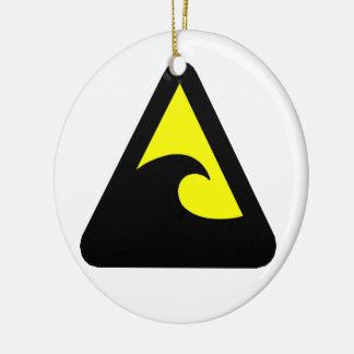 Tsunami-Gefahrenzeichen Keramik Ornament