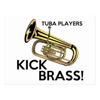 Tuba-Spieler-Tritt-Messing Postkarte