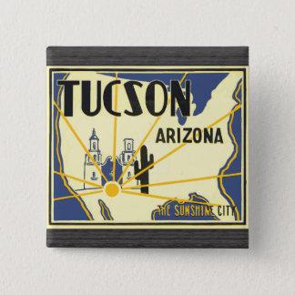 Tucson Arizona die Sonnenschein-Stadt, Vintag Quadratischer Button 5,1 Cm