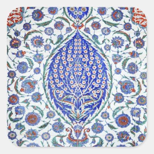 Tuiles florales turques autocollants carrés