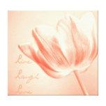 Tulipe de pêche vivante, rire, amour toile tendue sur châssis
