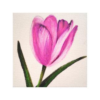 Tulipe rose - art enveloppé d'impression de toile toiles tendues