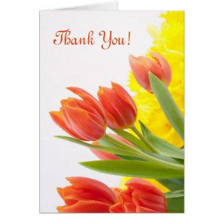 Tulpe-Blumen-Blumenblatt-orange Natur danken Ihnen Karte
