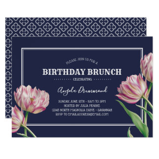 Tulpe-Blumen-Geburtstagbrunch-Blau Karte