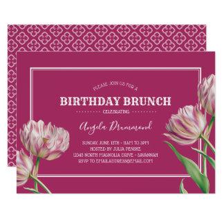 Tulpe-Blumen-Geburtstagbrunch-Rosa Karte
