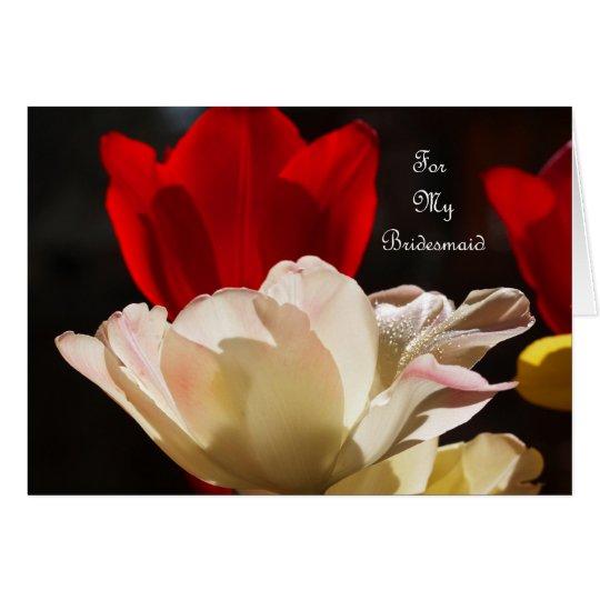 Tulpe-Brautjungfer danken Ihnen zu kardieren Grußkarte