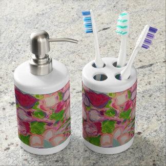 Tulpe-Überschwemmung Seifenspender & Zahnbürstenhalter