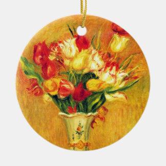Tulpen durch Pierre Renoir, Vintage Rundes Keramik Ornament