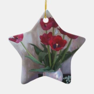 Tulpen im Vase Keramik Stern-Ornament