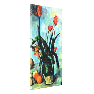 Tulpen in einem Vase durch Paul Cezanne, Vintage Leinwanddruck