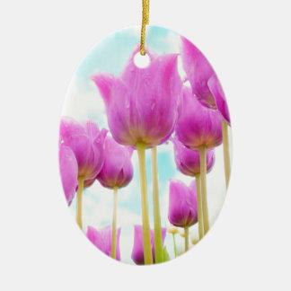 Tulpen Ovales Keramik Ornament