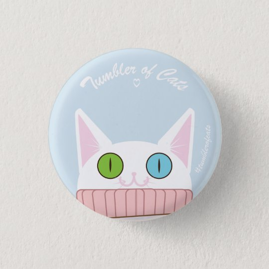 TumblerofCats Knopf - weißes TumblerCat babyblue Runder Button 2,5 Cm