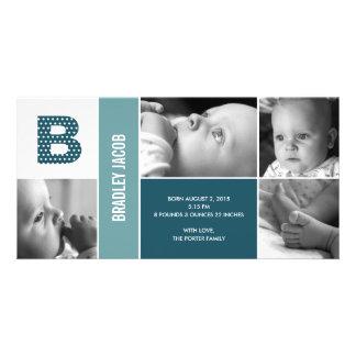 Tupfen-Anfangsbaby-Geburts-Mitteilung Personalisierte Photo Karte