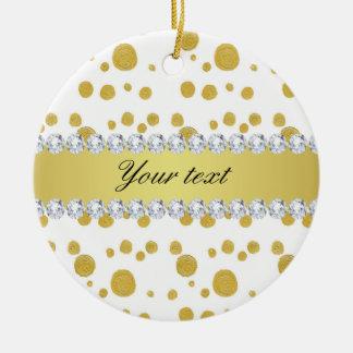 Tupfen-Goldölfarbe und Diamanten Rundes Keramik Ornament