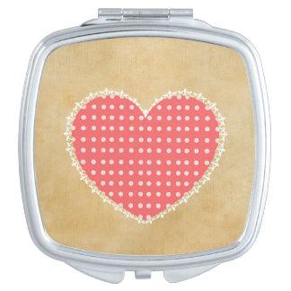 Tupfen-Herz-Quadrat-Vertrags-Spiegel Taschenspiegel