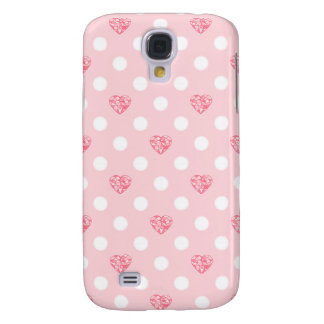 Tupfen mit rosa Herzen Galaxy S4 Hülle
