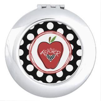 Tupfen-roter Apple-Lehrer-Vertrags-Spiegel Taschenspiegel