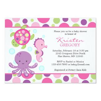 Tupfen-SeeBabyparty-Einladungen │ Rosa Karte