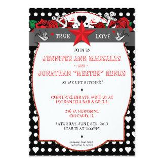 Tupfen-Tätowierungs-Rockabilly Hochzeits-Einladung 12,7 X 17,8 Cm Einladungskarte