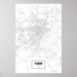 Turin, Italien (Schwarzes auf Weiß) Poster
