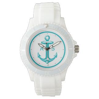 Türkis-Anker mit Seegeschenken der Initialen-| Armbanduhr
