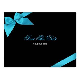 Türkis-Band-Hochzeits-Einladung Save the Date Postkarte