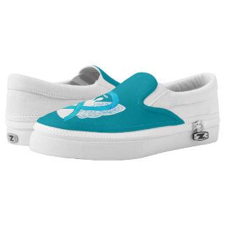 Türkis-Bewusstseins-Band-Engels-kundenspezifische Slip-On Sneaker