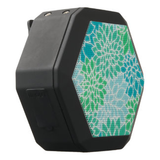 Türkis-Blau-abstrakte Blumen Schwarze Bluetooth Lautsprecher
