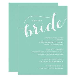 Türkis-Blau-Dusche die Braut-Einladung Karte