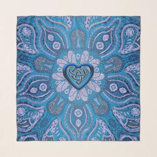 Türkis-Blau-keltischer Herz-Knoten-Mandala-Schal Schal