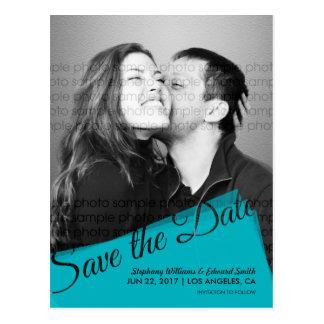 Türkis-Blau-Save the Date Foto-Postkarte Postkarte