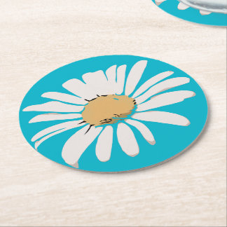 Türkis-Gänseblümchen-BlumenUntersetzer Runder Pappuntersetzer