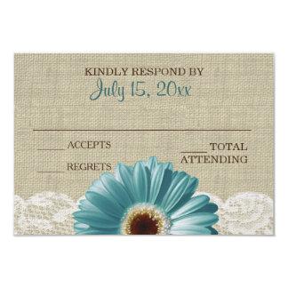 Türkis-Gänseblümchen-und 8,9 X 12,7 Cm Einladungskarte