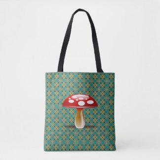 Türkis-Kaleidoskop und rote Pilz-Taschen-Tasche Tasche