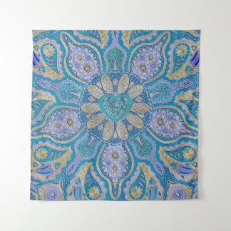 Türkis-keltische Herz-Mandala-Wand-Tapisserie Wandteppich